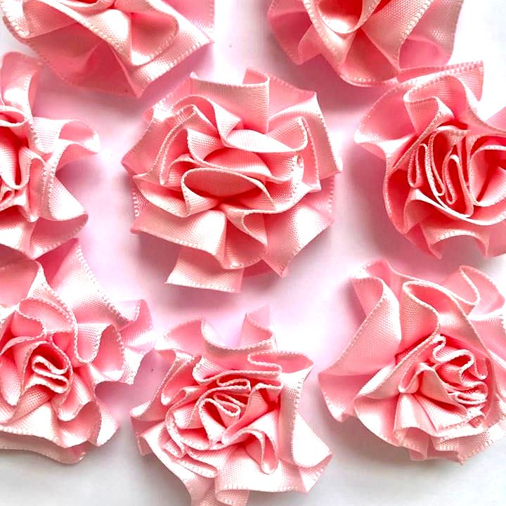 Satin Ribbon Ruffle Roses 3.5cm - Light Pink