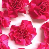 Satin Ribbon Ruffle Roses 3.5cm - Cerise Pink