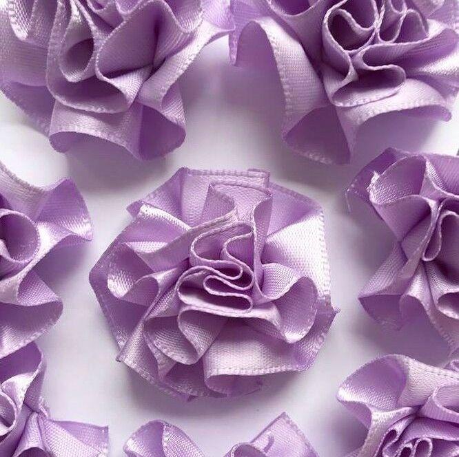 Satin Ribbon Ruffle Roses 3.5cm - Lilac