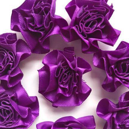 Satin Ribbon Ruffle Roses 3.5cm - Purple