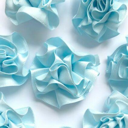 Satin Ribbon Ruffle Roses 3.5cm - Light Blue