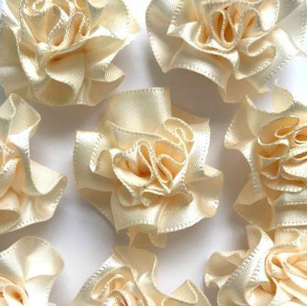 Satin Ribbon Ruffle Roses 3.5cm - Ivory