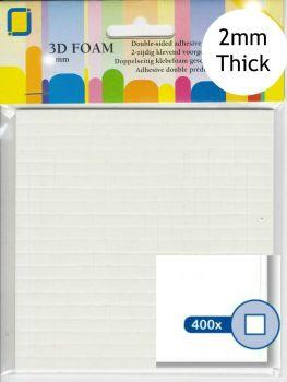 400 Self Adhesive 3D Mini Square Foam Pads - 2mm
