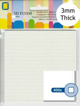 400 Self Adhesive 3D Mini Square Foam Pads - 3mm