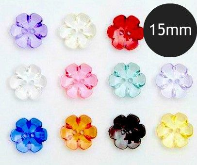 15mm Clear Flower Buttons