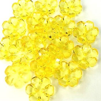 Clear Flower Buttons Yellow - 13mm
