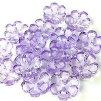 Clear Flower Buttons Lilac - 13mm