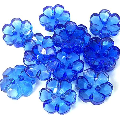 Clear Flower Buttons Royal Blue - 13mm
