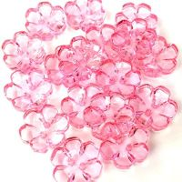 Clear Flower Buttons  Coral Pink - 13mm
