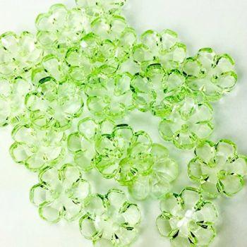 Clear Flower Buttons Green - 13mm