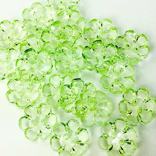 Clear Flower Buttons Green - 13mm