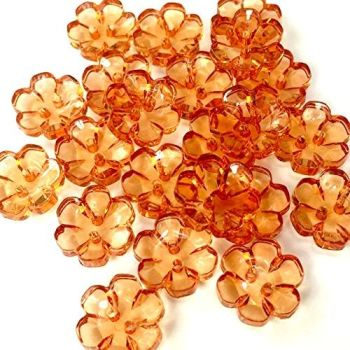 Clear Flower Buttons  Orange - 15mm