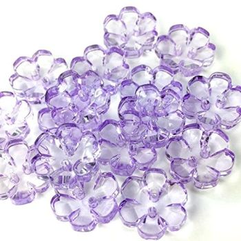 Clear Flower Buttons Lilac - 15mm