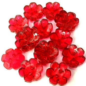 Clear Flower Buttons Red - 15mm