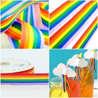 Multi Colour Grosgrain Rainbow Ribbon - Choice Of Widths