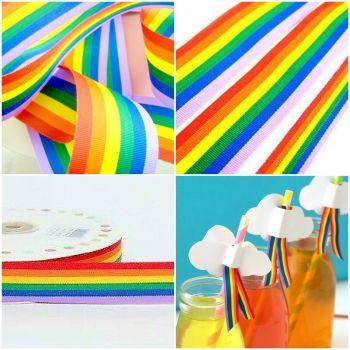 Multi Colour Grosgrain Rainbow Ribbon - Choice Of Widths