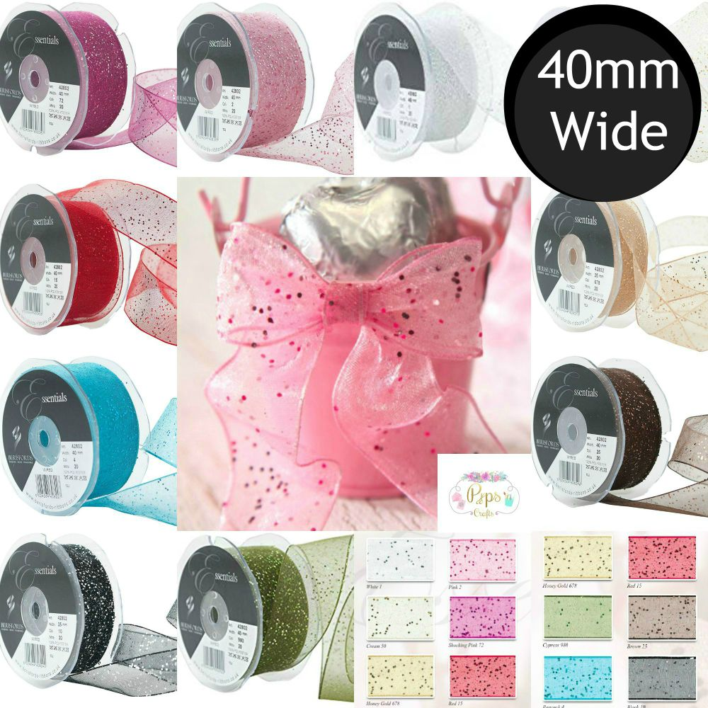 40mm Wired Glitter Ribbon