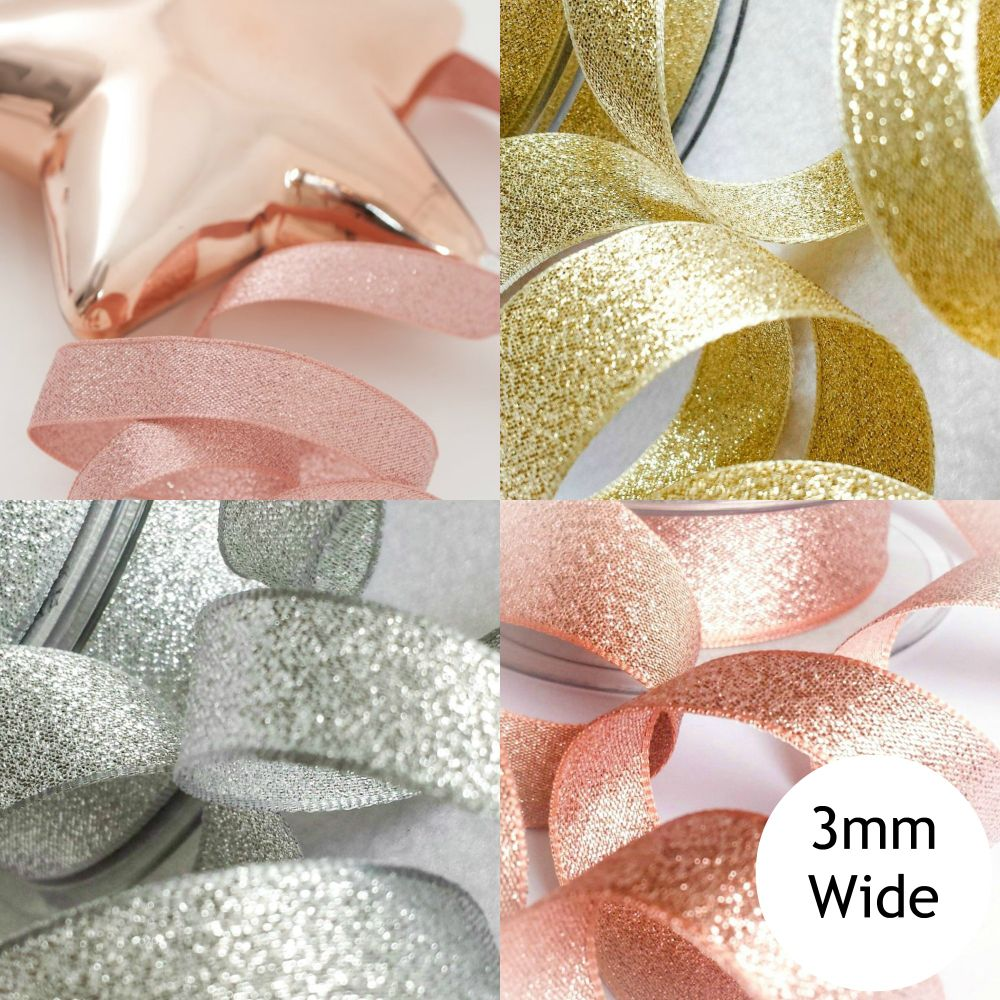Sparkly Lame Ribbon - 3mm Wide