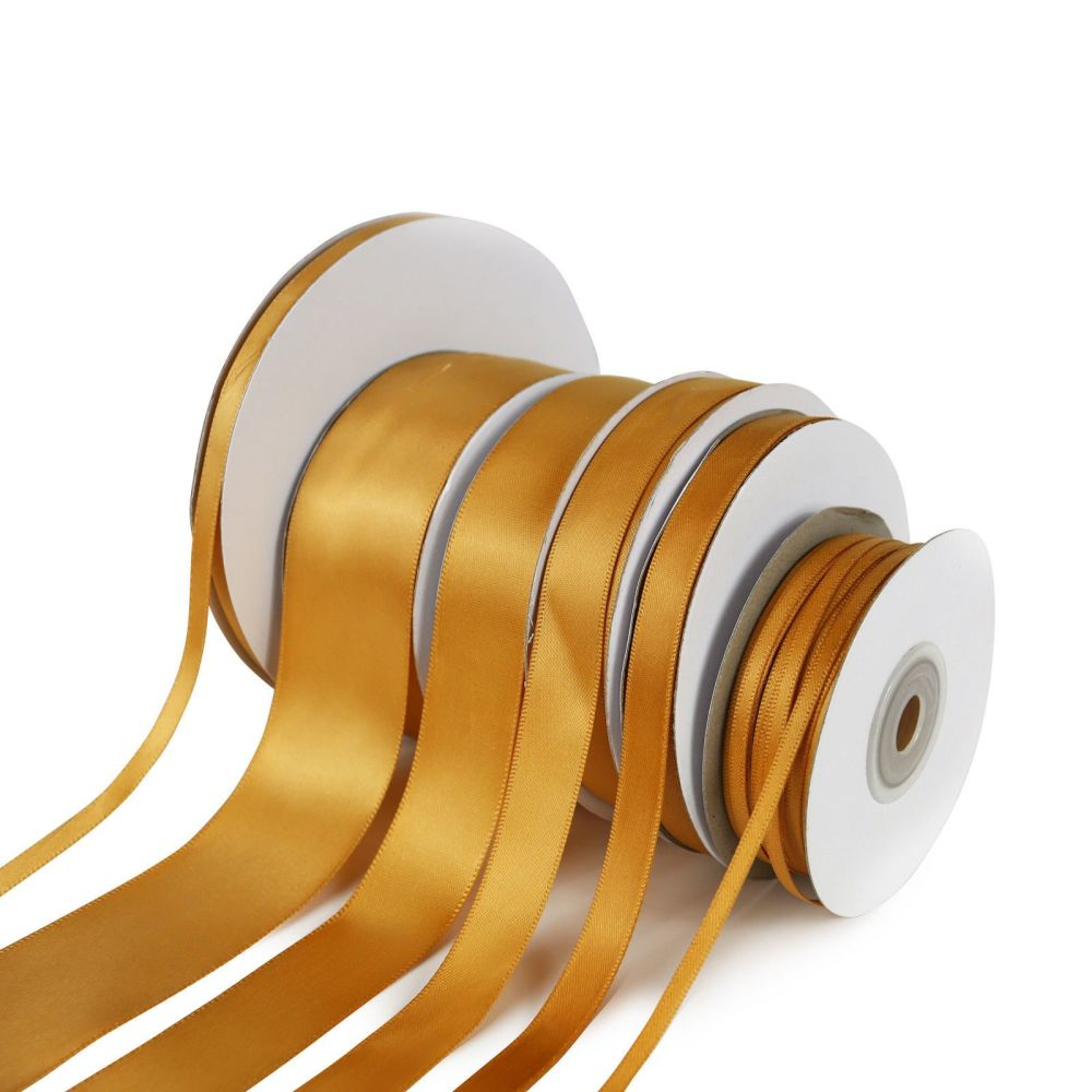 5 Metres Quality Double Satin Ribbon 15mm Wide - Antique Gold