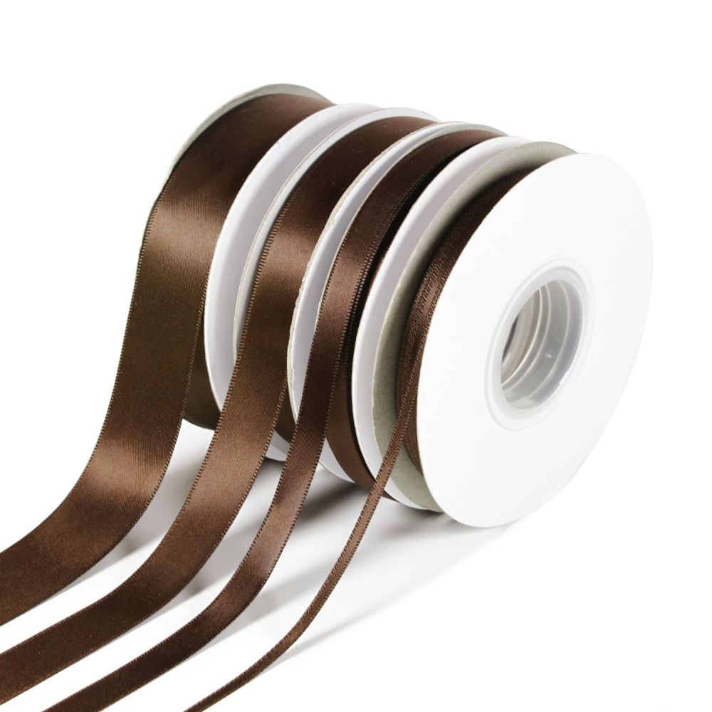 5 Metres Quality Double Satin Ribbon 15mm Wide - Brown