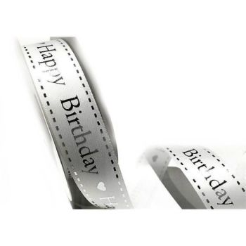 Satin Happy Birthday Ribbon - 25mm Wide