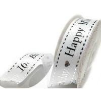 Satin Happy 16th Birthday Ribbon - 25mm Wide