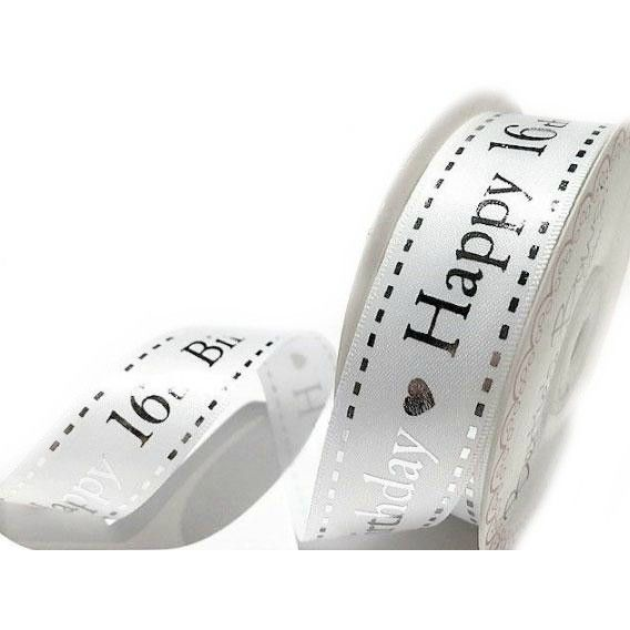 Satin Happy 16th Birthday Ribbon - 25mm Wide