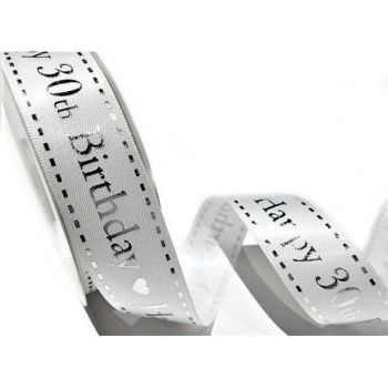 Satin Happy 30th Birthday Ribbon - 25mm Wide