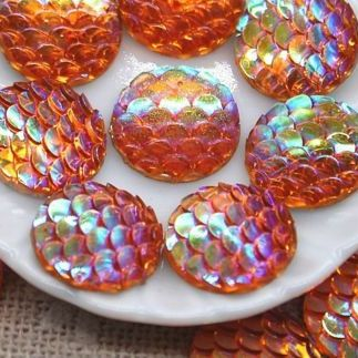 Beautiful Mermaid Fish Scale Flat Back 12mm Cabochons - Orange/Red