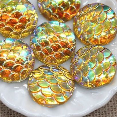 Beautiful Mermaid Fish Scale Flat Back 12mm Cabochons - Yellow/Blue