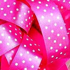 Berisfords Micro Polka Dot Spotty Ribbon 15mm - Hot Pink