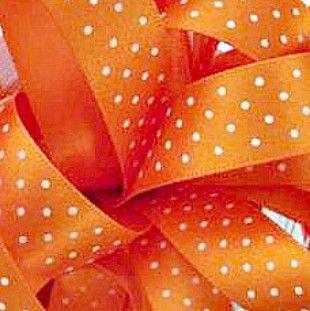 Berisfords Micro Polka Dot Spotty Ribbon 15mm - Orange Delight