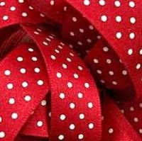 Berisfords Micro Polka Dot Spotty Ribbon 15mm - Red