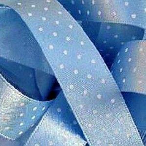 Berisfords Micro Polka Dot Spotty Ribbon 15mm - Cornflower Blue