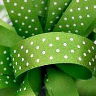 Berisfords Micro Polka Dot Spotty Ribbon 15mm - Meadow Green