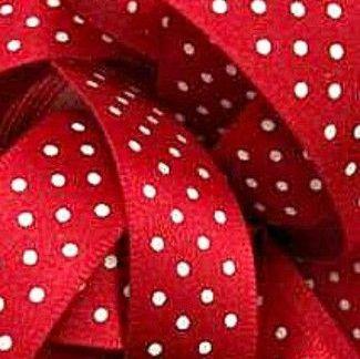Berisfords Micro Polka Dot Spotty Ribbon 25mm - Red