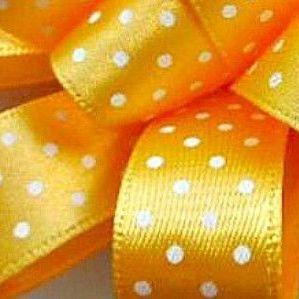 Berisfords Micro Polka Dot Spotty Ribbon 25mm - Gold