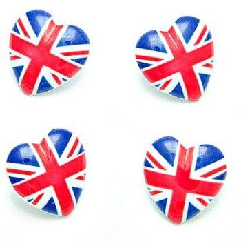 Union Jack Heart Buttons - 23mm