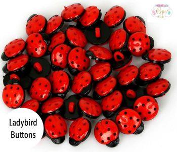 Ladybird Shank Buttons - 15mm & 35mm