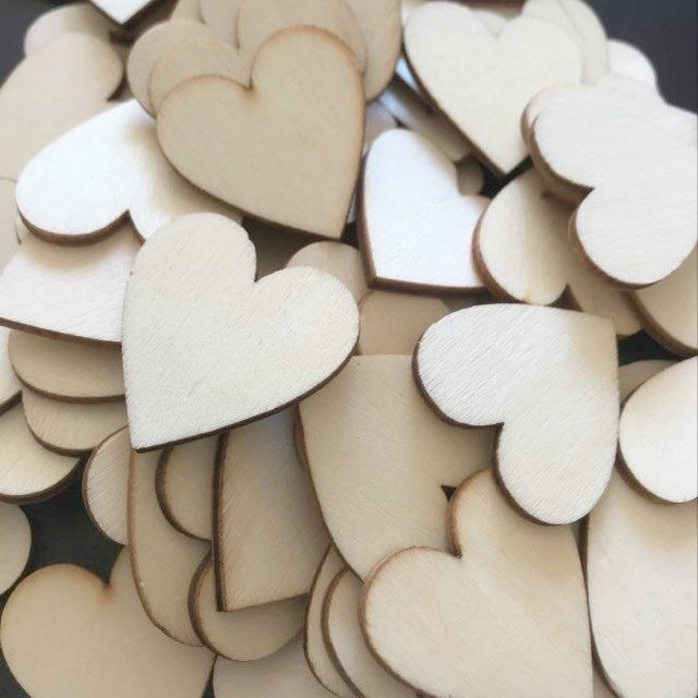 Wood Heart Shapes 3cm - Laser Cut