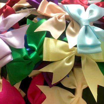 Satin Fabric 25mm Ribbon Bows - Assorted