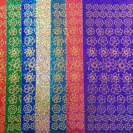 Sparkly Holographic Flowers Peel Off Sticker Sheet