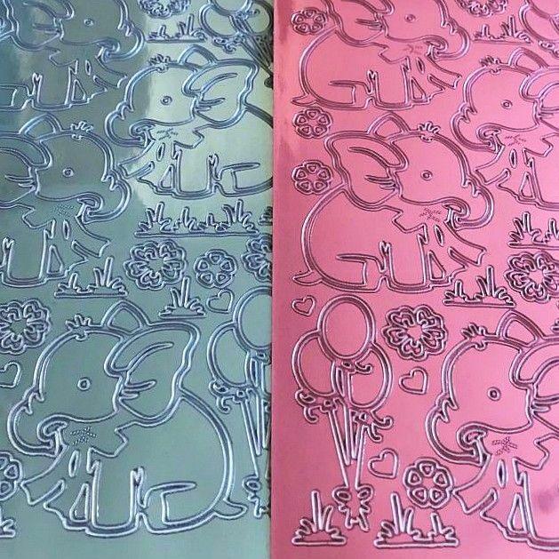 Baby Elephant  Pink/Blue Peel Off Sticker Sheet