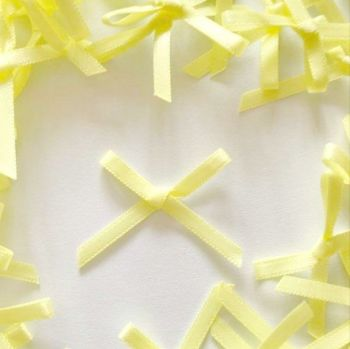 Mini Satin Fabric 3mm Ribbon Bows - Yellow