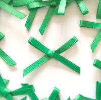 Mini Satin Fabric 3mm Ribbon Bows - Emerald Green