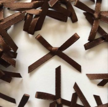 Mini Satin Fabric 3mm Ribbon Bows - Brown