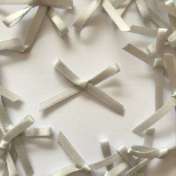 Mini Satin Fabric 3mm Ribbon Bows - Grey