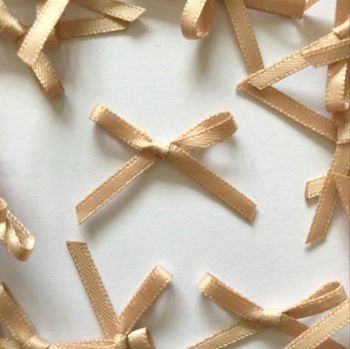 Mini Satin Fabric 3mm Ribbon Bows - Beige