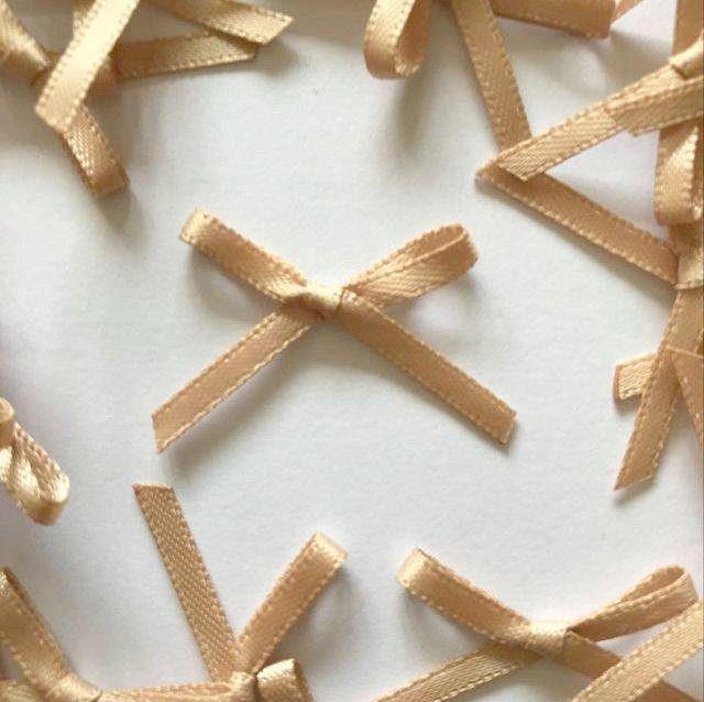 Mini Satin Fabric 3mm Ribbon Bows - Beige