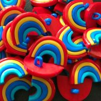 Multi Colour 25mm Rainbow Buttons